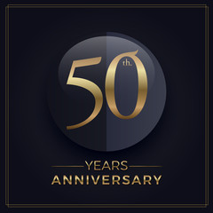 50 years gold and black anniversary celebration simple logo template on dark background