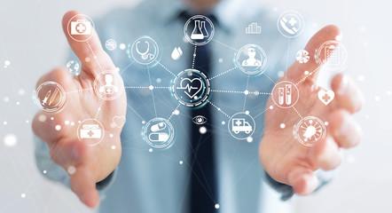 Businessman using digital medical interface 3D rendering