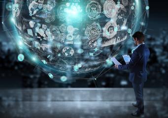 Businessman watching digital sphere interface on a rooftop 3D rendering