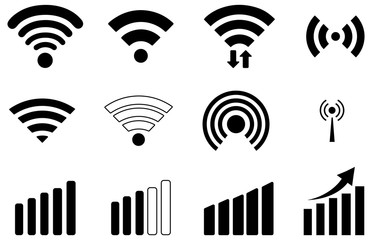 Wall Mural - Black wifi vector icons pack