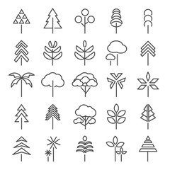 Tree  line icons set. Collection of plant in linear style vector illustration