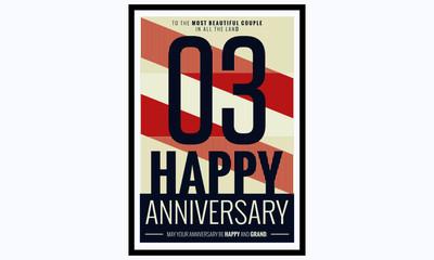 3 Years Happy Anniversary (Vector Illustration Poster Design)