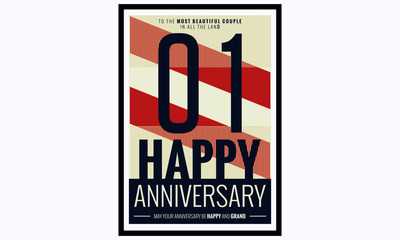 One Year Happy Anniversary (Vector Illustration Poster Design)