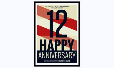 12 Years Happy Anniversary (Vector Illustration Poster Design)