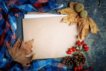 Autumn leaves, berries, rose hips and pine cones on the table. Autumn background with copy space.