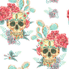 Vintage vector seamless pattern with skull and roses