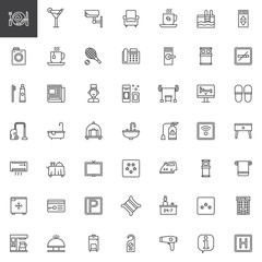 Hotel services and facilities line icons set, outline vector symbol collection, linear style pictogram pack. Signs, logo illustration. Set includes icons as hotel, reception, laundry, bell boy, sofa