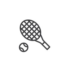 Tennis racket and ball line icon, outline vector sign, linear style pictogram isolated on white. Symbol, logo illustration. Editable stroke
