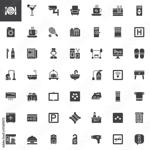 Hotel Services And Facilities Vector Icons Set Modern Solid Symbol