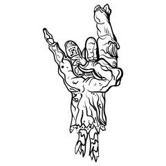 Rock zombie hand. Heavy metal sign Rock gesture