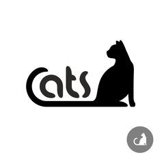 Black cat silhouette with text logo