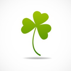 Three leaf irish clover icon. Bright green shamrock Isolated on white.