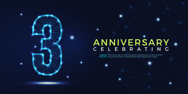3 years anniversary celebrating numbers vector abstract polygonal silhouette. 3rd anniversary concept illustration consisting of point, mesh and lines