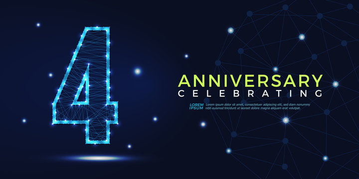 4 years anniversary celebrating numbers vector abstract polygonal silhouette. 4th anniversary concept illustration consisting of point, mesh and lines