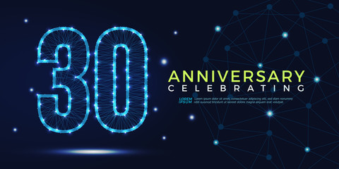 30 years anniversary celebrating numbers vector abstract polygonal silhouette. 30th anniversary concept. vector illustration