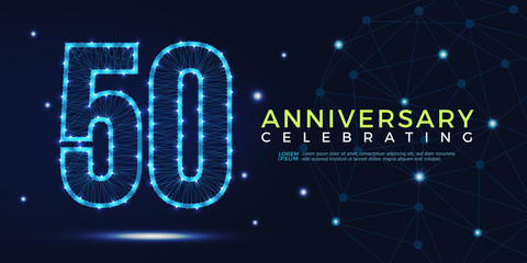 50 years anniversary celebrating numbers vector abstract polygonal silhouette. 50th anniversary concept. vector illustration