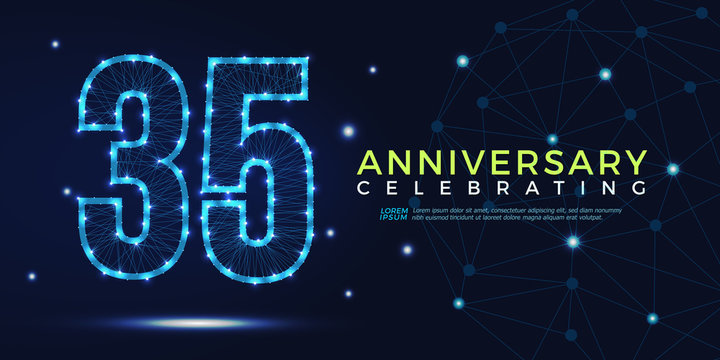 35 years anniversary celebrating numbers vector abstract polygonal silhouette. 35th anniversary concept. vector illustration