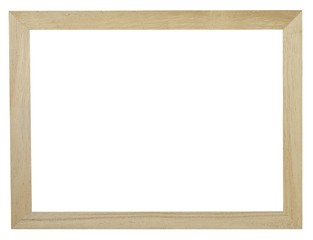 Brown Wooden Frame With Copy Space on White Background