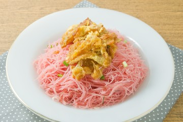 Asian Red Fried Rice Vermicelli with Eggs and Scallion