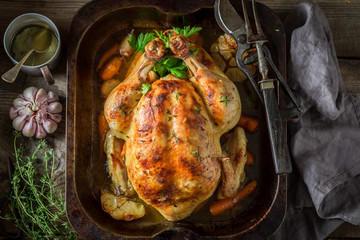 Tasty grilled chicken with thyme and garlic