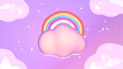 Cartoon rainbow and clouds. 3d rendering picture.