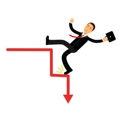 Stressed businessman character falling down of career ladder, business and financial failure, economic crisis vector Illustration