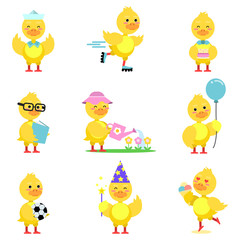 Cute yellow duckling characters set, funny duck in different poses and situations cartoon vector Illustrations