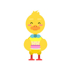 Funny little yellow duckling holding birthday cake cartoon character vector illustration