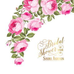 Marriage invitation card with custom sign and flower frame over white background. Vector illustration.