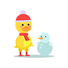 Funny little yellow duckling with snowman cartoon character vector illustration