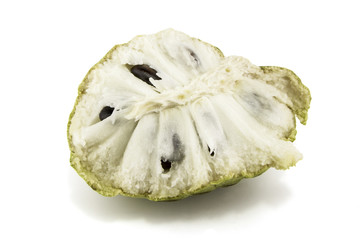 Fresh Custard Apple or Ripe Sugar Apple Fruit ( Annona, sweetsop) Isolated on white background on with clipping path / well-branched tree or shrub that bears edible fruits healthy eating / thai fruit