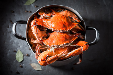 Acrylic Prints Seafoods Preparation for homemade crab in a old metal pot