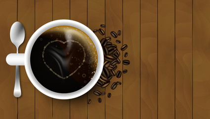Cup of coffee with spoon, heart, coffee beans and steam on a wooden background. Vector design.