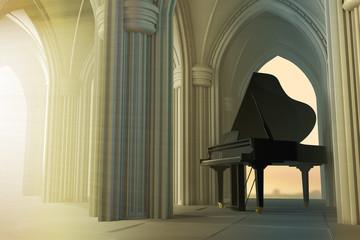 Grand piano in the gothic church