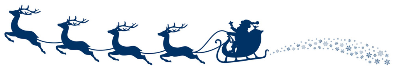 Christmas Sleigh Santa & Flying Reindeers Swirl Dark Blue