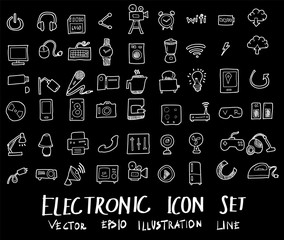 Doodle sketch electronic icons Illustration vector  on black eps10