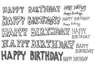 Hand drawn Happy Birthday text isolated. Vector sketch black and white illustration icon doodle eps10