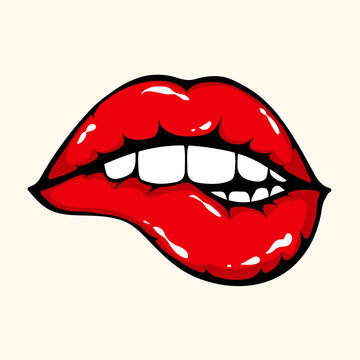Vector illustration of woman biting sexy red lips