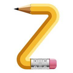 Letter z pencil icon, cartoon style