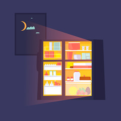 Fridge with food at night. Flat design vector illustration.