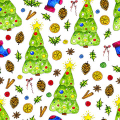 Seamless pattern with hand drawn watercolor christmas elements