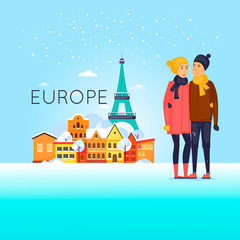 Couple travels in winter. Europe. Flat design vector illustration.