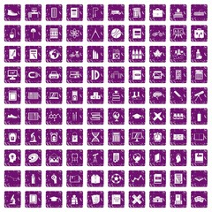 100 school icons set grunge purple