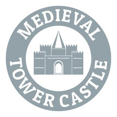 Tower castle logo, simple gray style