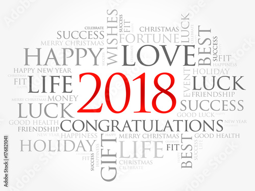2018 year greeting word cloud collage, Happy New Year celebration ...