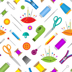 Hobby accessories sewing tools equipment needlework hobby vector illustration seamless pattern background