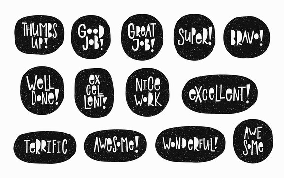 Nice work Good job Well done Thumbs up Awesome Bravo Super Excellent sticker quote lettering. Calligraphy inspiration graphic design typography element. Hand written postcard. Cute simple vector sign.