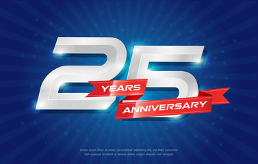 25 years anniversary background with red ribbon and star on blue background. celebrating logotype, poster or brochure template. Vector illustration