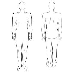Mensch, Vorder- und Rückseite, Skizze