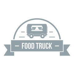 Food truck logo, simple gray style